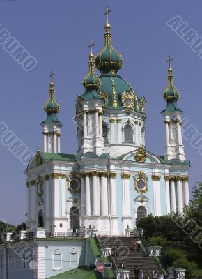 Kiev Andreevskaya church gold cupola in sky