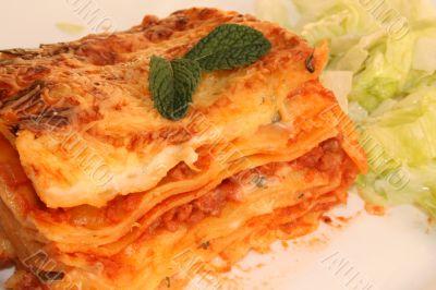 pasta lasagne with meat in italian restourant