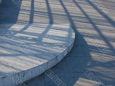 Roadway with an architectural detail and shadows