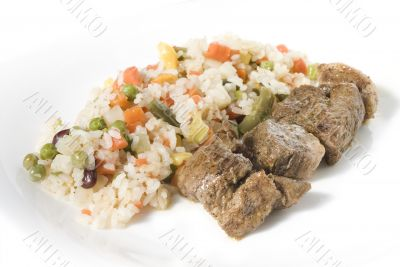 Fried meat with vegetables and rice