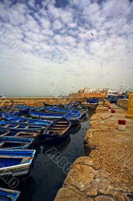 port, boats, sky, pier,birds, clouds
