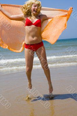 beach, girl, ocean, sea, sand, sun, jump