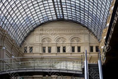 glass semicircular roof and escalator
