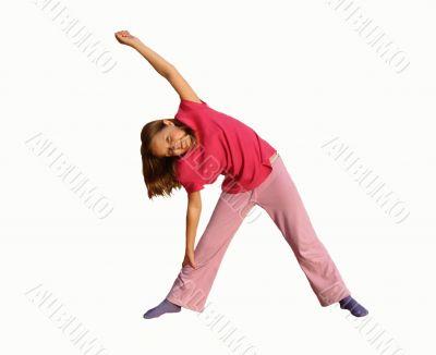 The girl engaged gymnastics