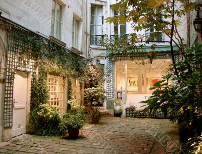 Old Parisian court yard with gallery