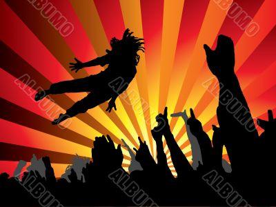 concert jump flame