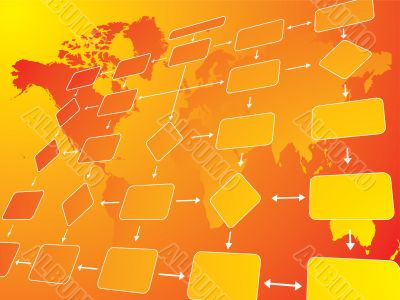 business flow chart orange