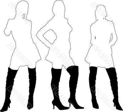 ladies in boots outline