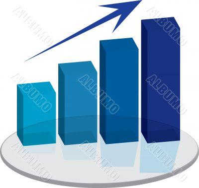 sales plinth blue up arrow