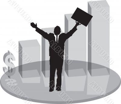 sales plinth glass with businessman