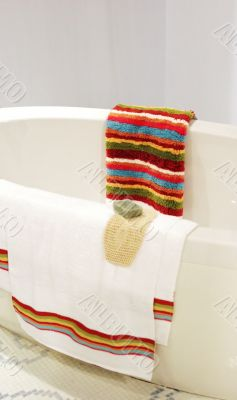 Luxury bathroom with tub and towels