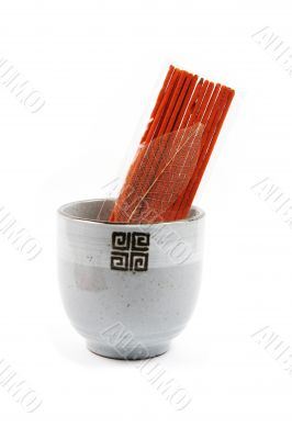 Incense sticks isolated on white