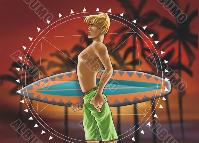 Surf boy with mandala