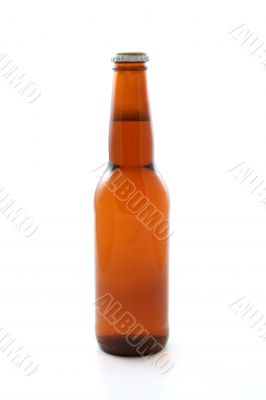 one bottle of beer isolated on white