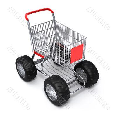 Shopping cart isolated turbo