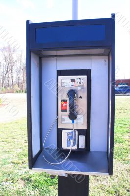 a pay telephone booth