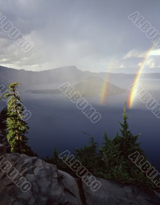 Crater Lake Double Rainbow