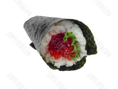 Salmon roe hand roll sushi