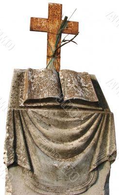 marble opened book tombstone with holy cross