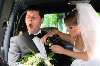 Humorous newlyweds
