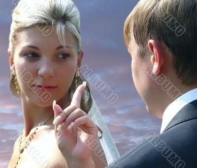 speaking newlyweds couple
