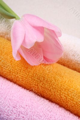 stack of clean colorful towels