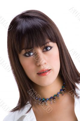 Beautiful young brunette with brackets on teeth 3