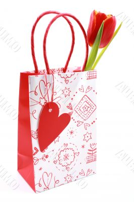 nice shopping bag with tulip isolated