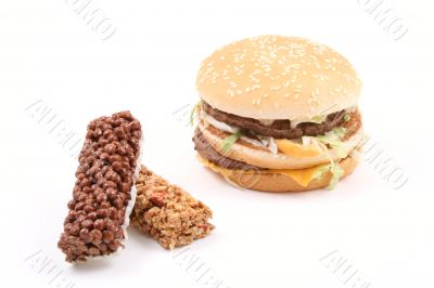 delicious hamburgers and snack