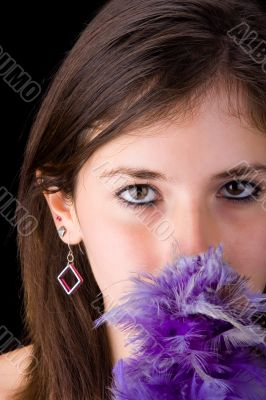 Teenager and feathers