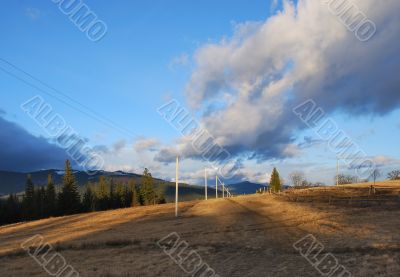 Perspective view on road in mountains.