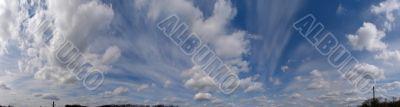 Horizontal panoramic skyskype with clouds