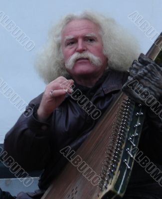 Street folk musician with bandura