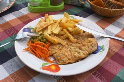 Chicken cutlet and french fries