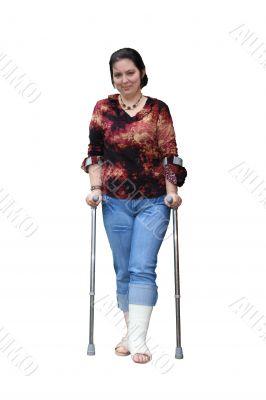 Young women with a broken leg