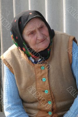Old Ukrainian country sad granny portrait