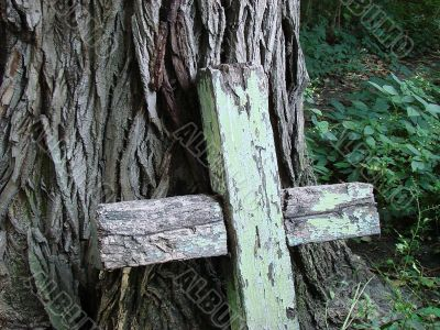 Aged broken wooden cross