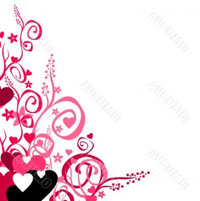 Love & flowers & scrolls background.