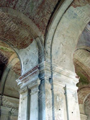 Old ruined cathedral interior