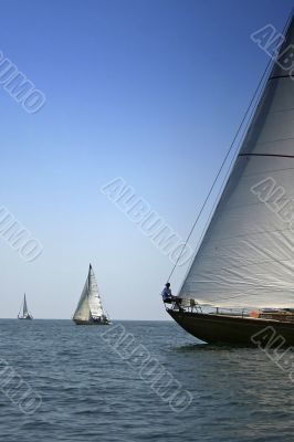 Two yachts on sea open space
