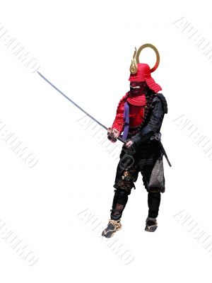 Samurai with sword-fighting position