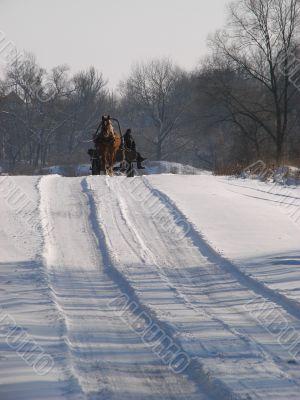 Winter snowy road thru forest