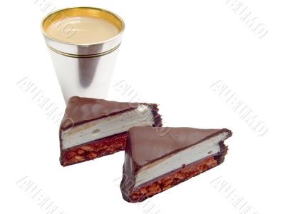 Chocolate sweets and wine-glass with liquor