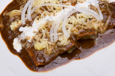 Mole enchiladas close-up