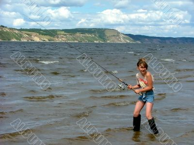 fishing and girl