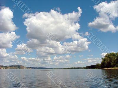 big cloud, river and much big clouds