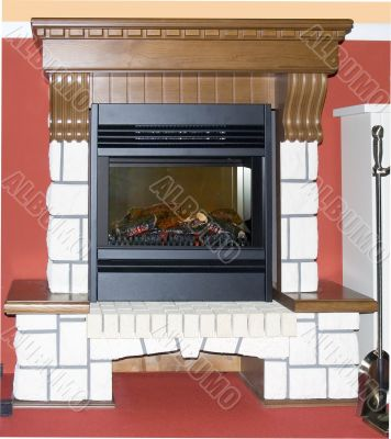 Burning fireplace in the house