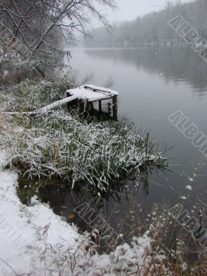 First season snowfall on Ukrainian River