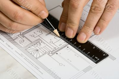 The engineering drawing on a paper.