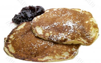 Two pancakes with jam